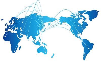 世界地図と世界拡大が出来る事業のイメージ