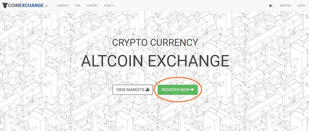 コインエクスチェンジのトップ画面