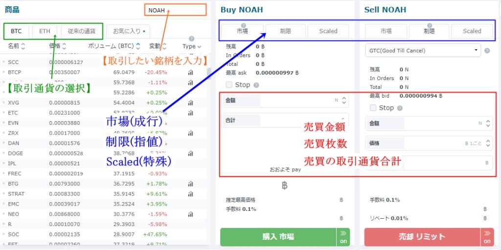 HitBTCの取引方法・買い方