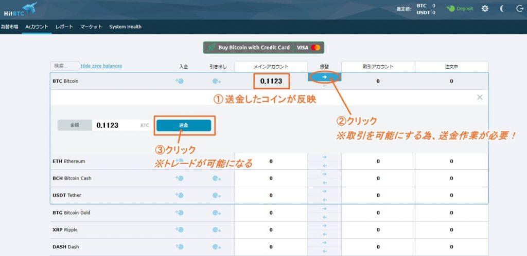 HitBTCへの入金方法