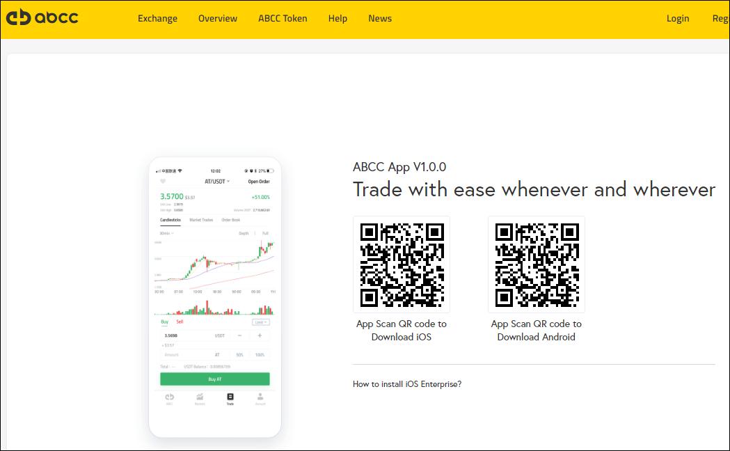 ABCC取引所のアプリケーション