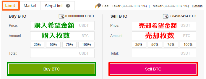 バイナンス取引所の指値注文方法