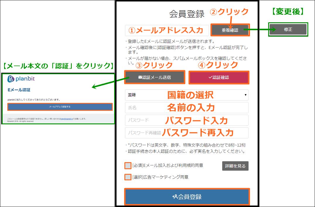プランビット取引所の登録画面