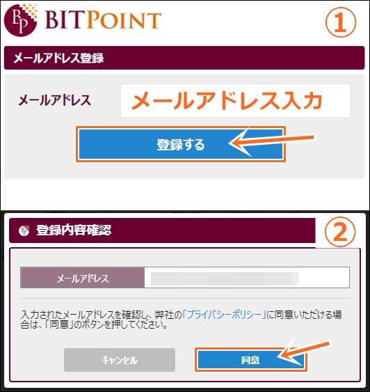ビットポイント取引所の登録方法
