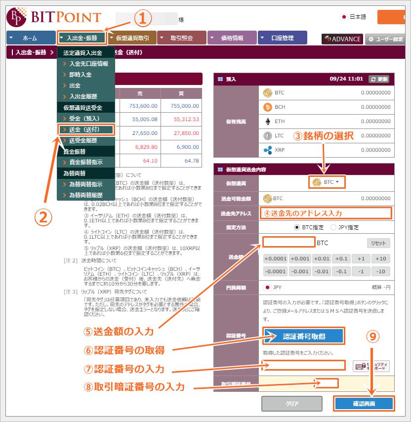 ビットポイント取引所の仮想通貨出金方法