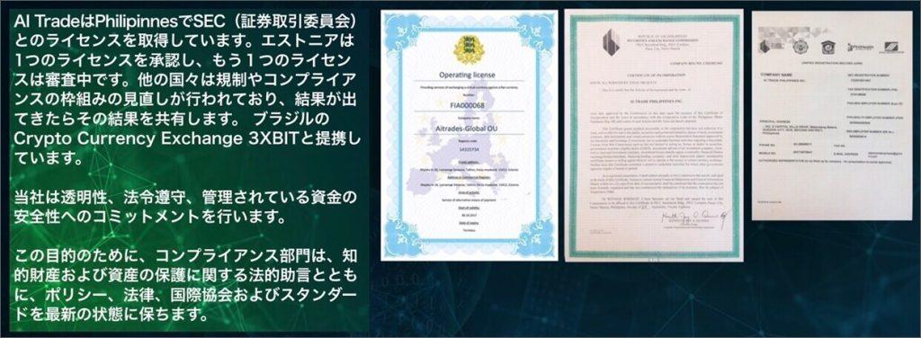 AIトレードのライセンス情報