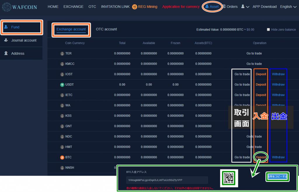 Wafcoin取引所の入金方法