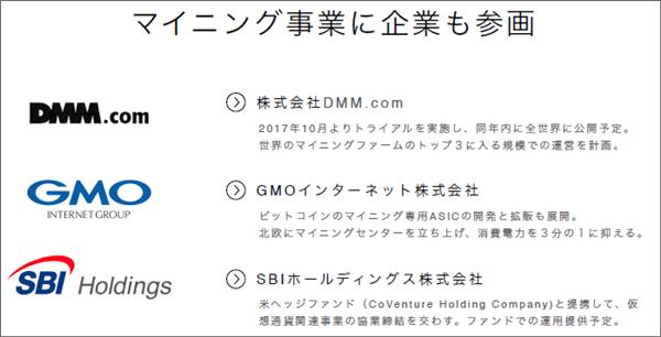 マイニング事業の参加日本大手企業