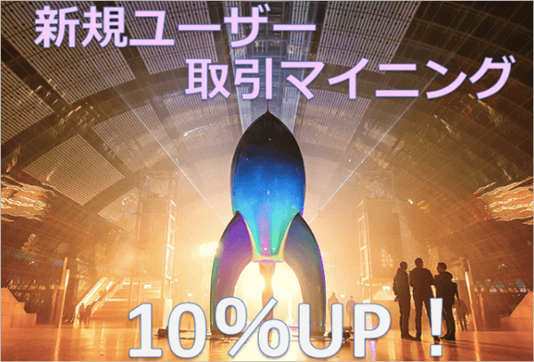 クロスエクスチェンジの新規ユーザー取引マイニング10%増量