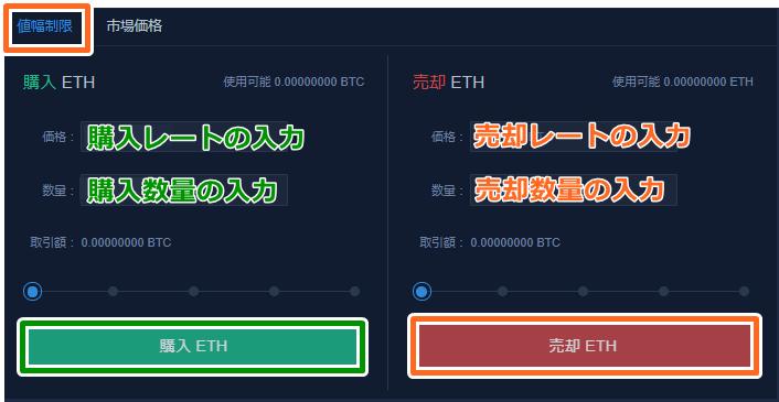 ビンテックオンライン取引所の指値注文の方法