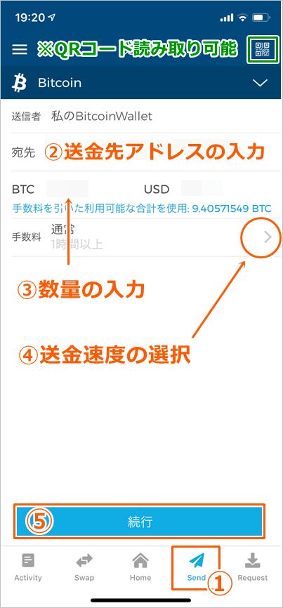 ブロックチェーンウォレットの送金方法