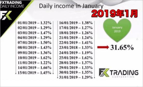 FXトレーディングコーポレーションの2019年1月収益