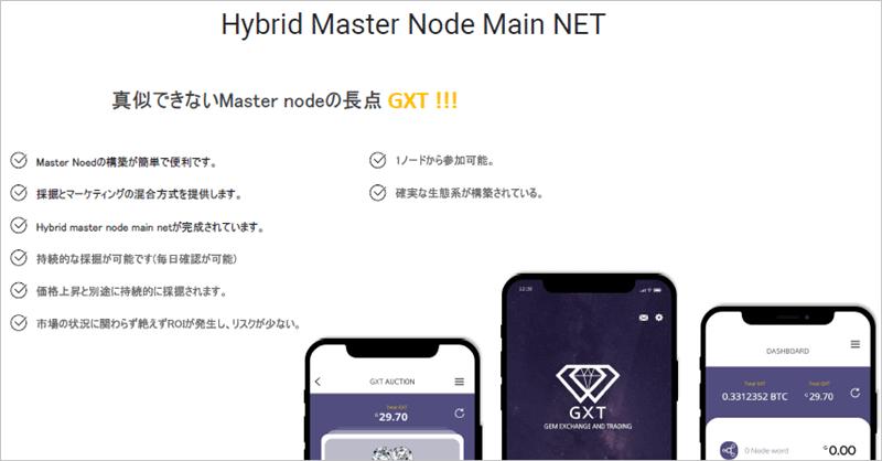 GXTのマスターノードのメインネット