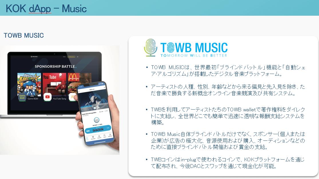 KOKPLAYのTOWBミュージック