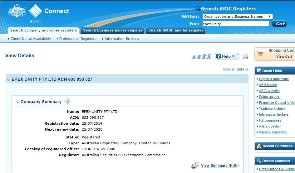 イーペックスユニティのオーストラリア証券会社の登録内容