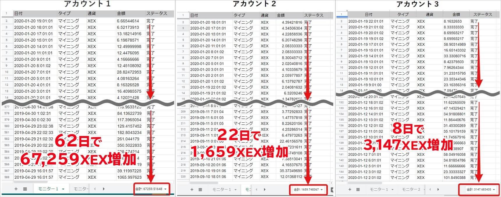 XEXY(ゼクシー)クロスエクスチェンジ専用の自動ツールの検証データ
