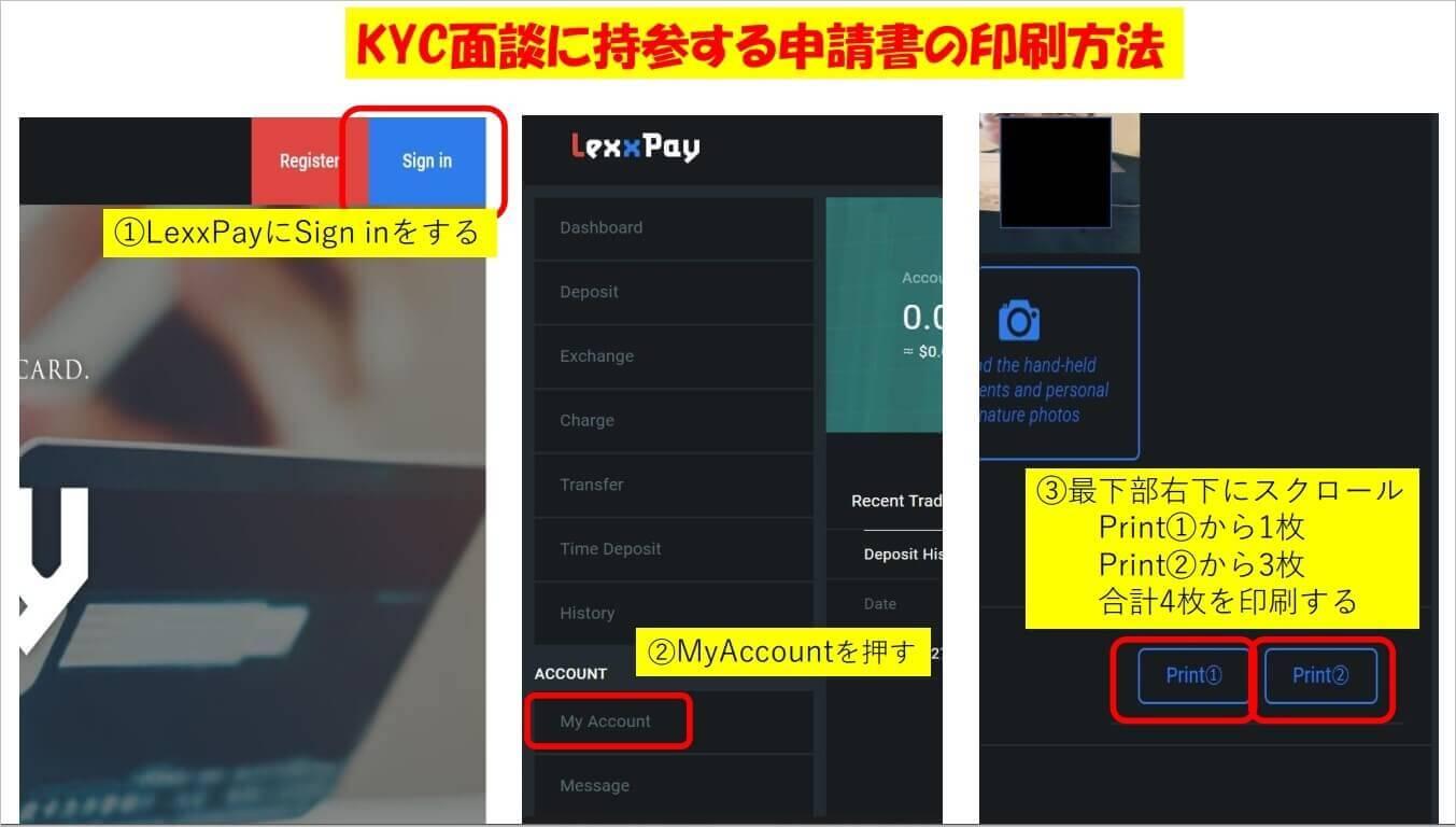 lexxpayの本人確認資料の印刷