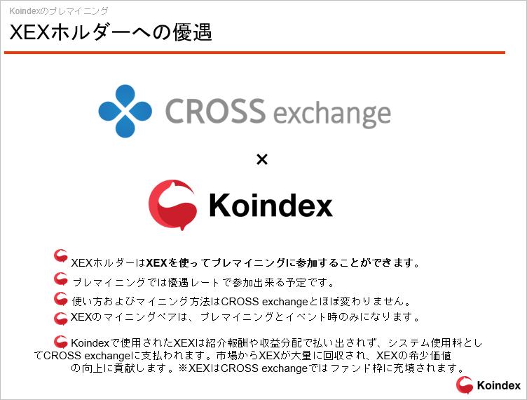 コインデックス取引所のクロスエクスチェンジ取引所のXEXホルダー優遇制度
