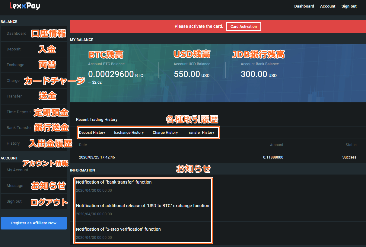 Lexxpayのユーザーページ