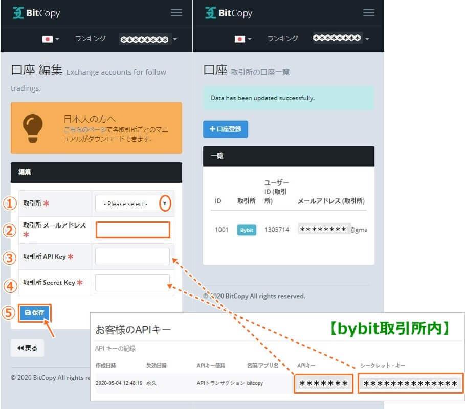 ビットコピーとバイビット取引所の連携手順