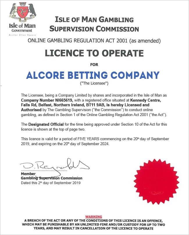 アルコアのギャンブルライセンス